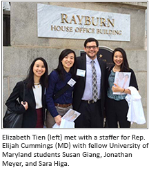 Elizabeth Tien (left) met with a staffer for Rep. Elijah Cummings (MD) with fellow University of Maryland students Susan Giang, Jonathan Meyer, and Sara Higa.