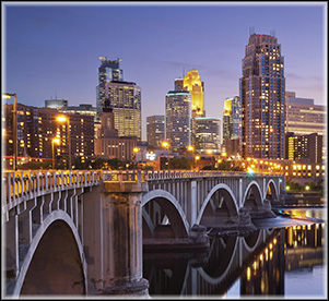 Minneapolis Bridge at Night